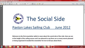 Paxton Lakes Sailing Club - Social Side News Letter