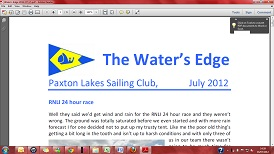 Paxton Lakes Sailing Club Newsletter - The Water's Edge